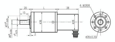 Typical drawing of planetary geared brushless motor GBL35